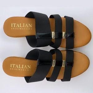 Italian Shoemakers Black Strap Sandal Wedge